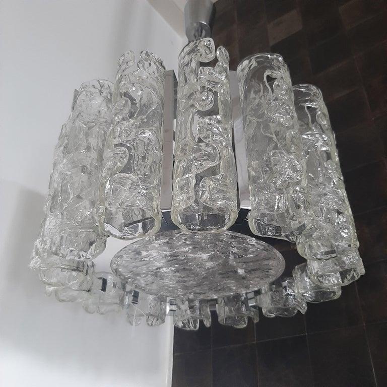 Vintage Italian Glass and Chrome Venini Chandelier For Sale 2