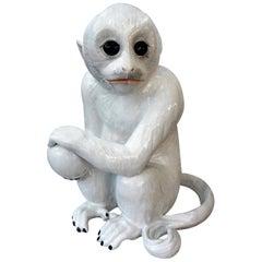 Vintage Italian Glazed Pottery Monkey Sculpture
