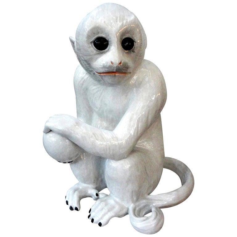 Vintage Italian Glazed Pottery Monkey Sculpture For Sale