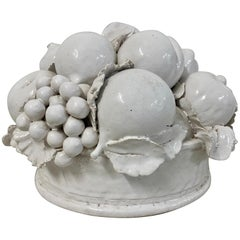 Vintage Italian Glazed Stoneware Fruit Bowl Centerpiece, circa 1940