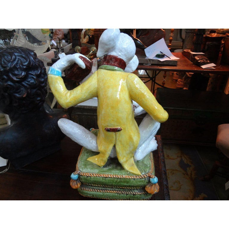 Vintage Italian Glazed Terracotta Monkey Figure For Sale 1