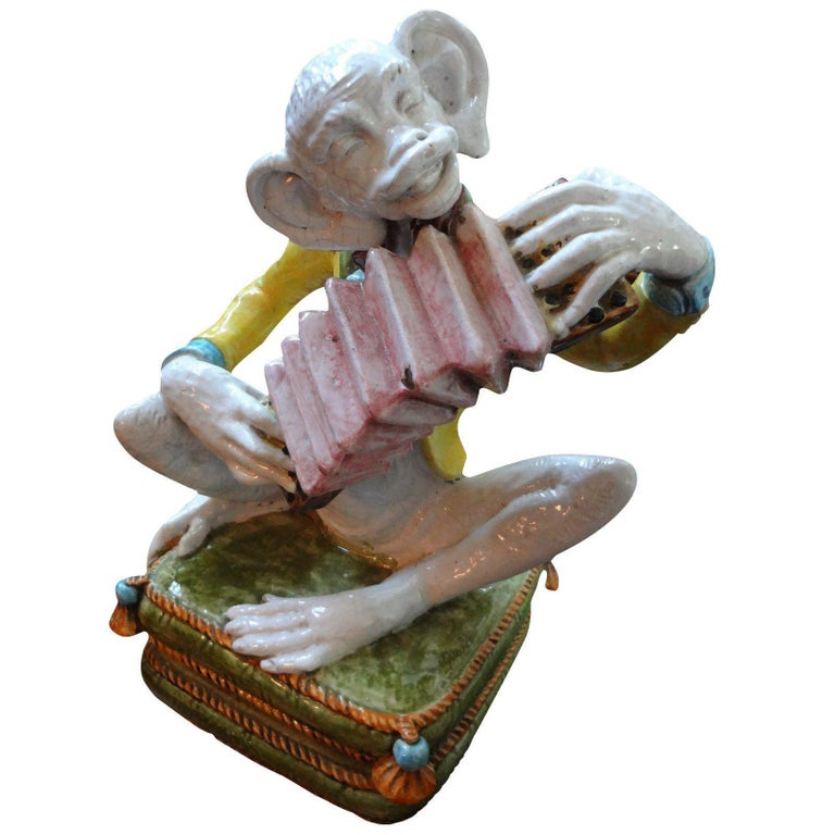 Vintage Italian Glazed Terracotta Monkey Figure For Sale 2