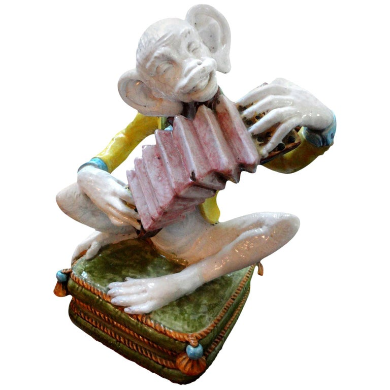 Vintage Italian Glazed Terracotta Monkey Figure For Sale