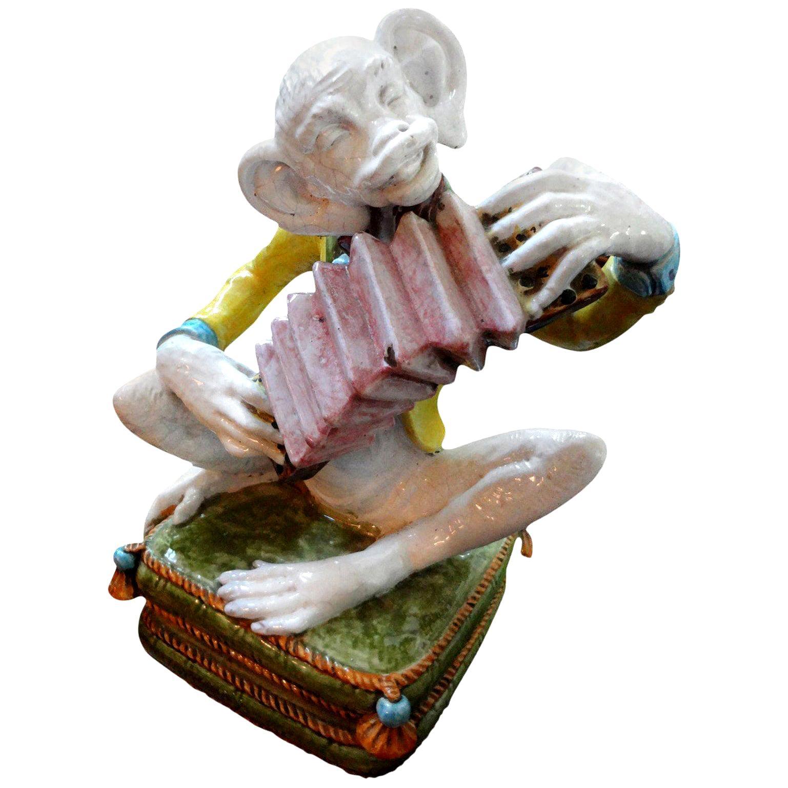 Vintage Italian Glazed Terracotta Monkey Figure