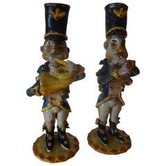 Vintage Italian Glazed Terracotta Music Men Figures