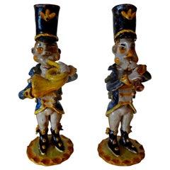 Vintage Italian Glazed Terracotta Music Men's Figures