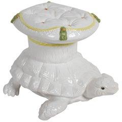 Vintage Italian Glazed Terracotta Turtle Garden Seat, Stool or Cocktail Table