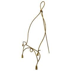 Vintage Italian Gold Gilt Metal Rope and Tassel Easel