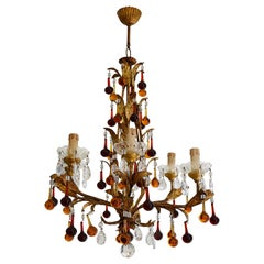 Vintage Italian Gold Leaf Fixture and Glass Tears Chandelier, Early 1970s