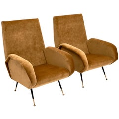 Vintage Italian Gold Velvet Armchairs