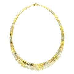 Vintage Italian Graduating Cleopatra Diamond Cut Tri-Color Gold Choker 18k Gold