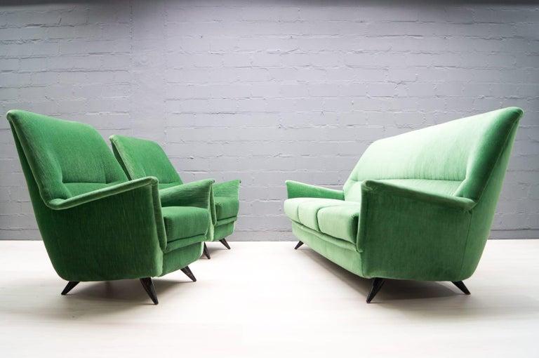 Vintage Italian Green 3-Seat Sofa, 1950s For Sale 4