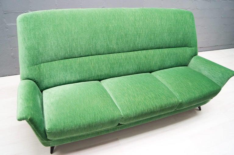 Vintage Italian Green 3-Seat Sofa, 1950s For Sale 5