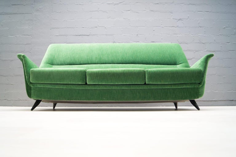 Vintage Italian green 3-seat sofa.  Seat height 38cm.  Produced in the 1950s.  In good original condition.