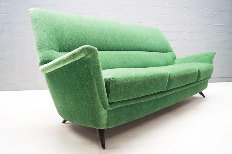 Mid-Century Modern Vintage Italian Green 3-Seat Sofa, 1950s For Sale