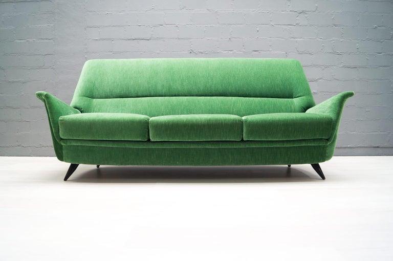 Mid-20th Century Vintage Italian Green 3-Seat Sofa, 1950s For Sale