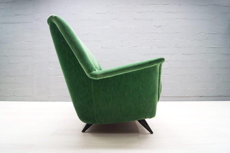 Fabric Vintage Italian Green 3-Seat Sofa, 1950s For Sale
