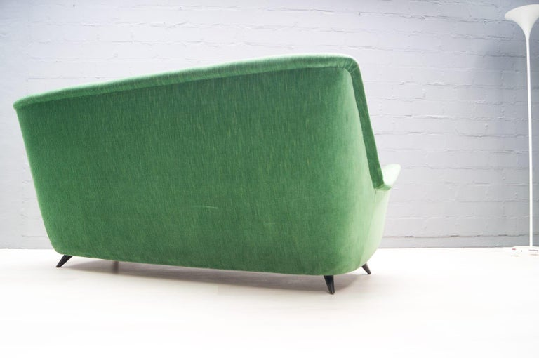 Vintage Italian Green 3-Seat Sofa, 1950s For Sale 1