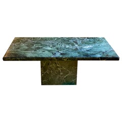Vintage Italian Green Marble Dining Table