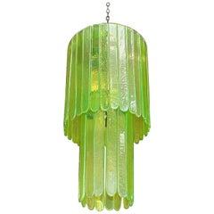 Vintage Italian Green Murano Cascade Chandelier Designed by Leucos, 1970s