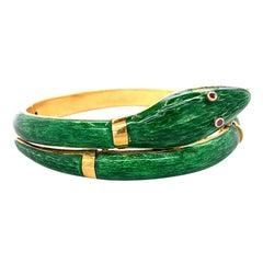 Vintage Italian Guilloche Enamel 18 Karat Gold Bangle Bracelet