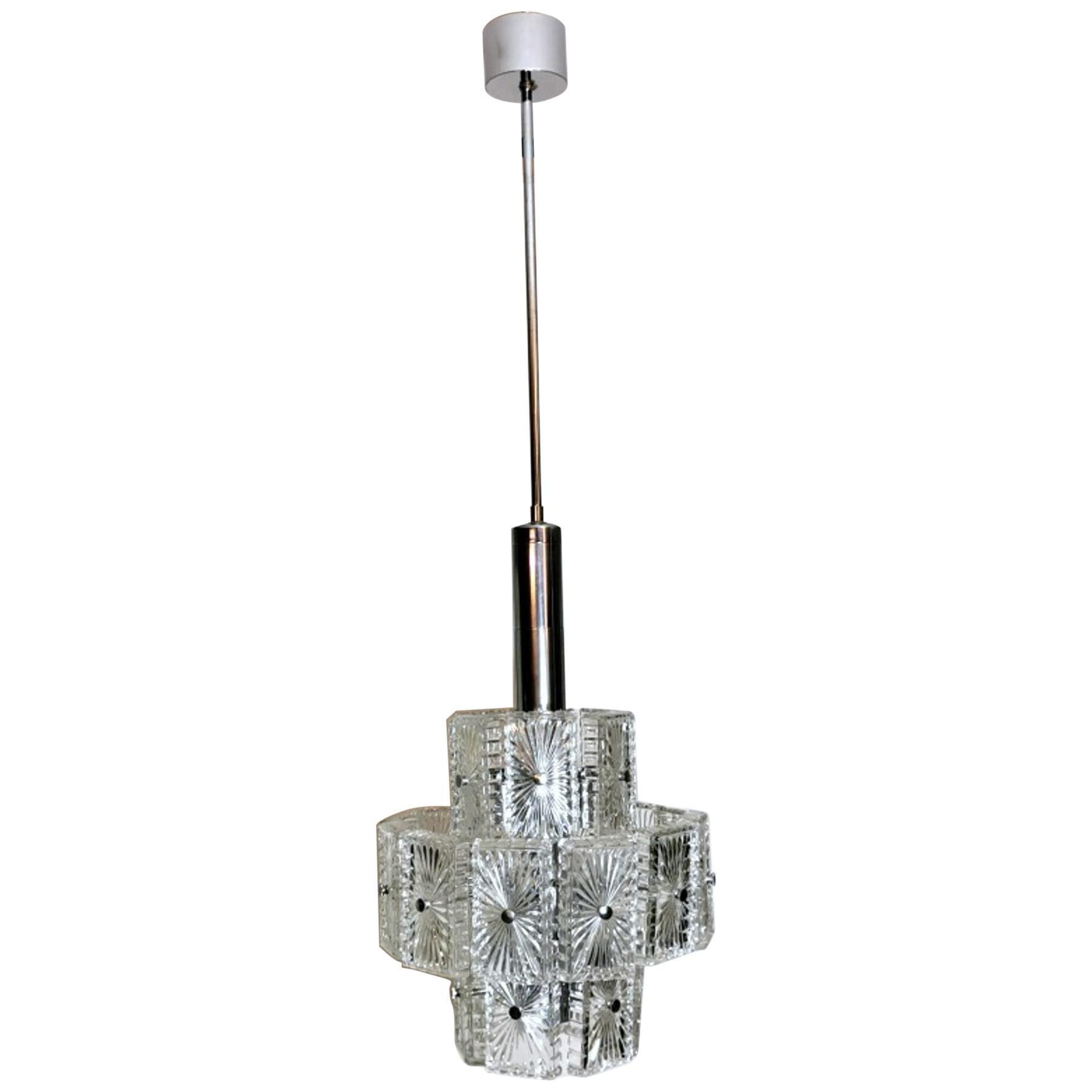 Vintage Italian Half-Crystal and Nickel-Plated Metal Chandelier 12-Light
