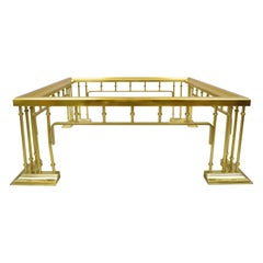Vintage Italian Hollywood Regency Brass Plated Metal Square Coffee Table Base