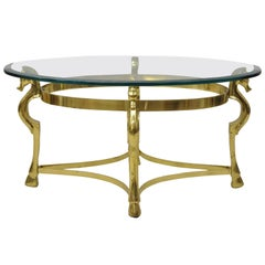 Vintage Italian Hollywood Regency Brass Seahorse Small Oval Glass Coffee Table