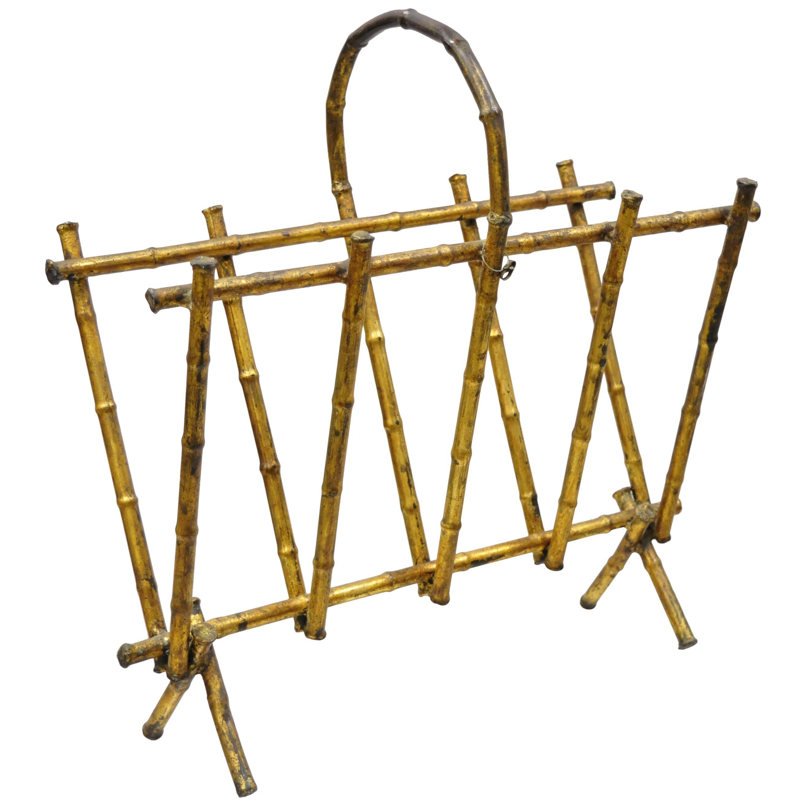 Vintage Italian Hollywood Regency Faux Bamboo Gold Gilt Metal Tole Magazine Rack