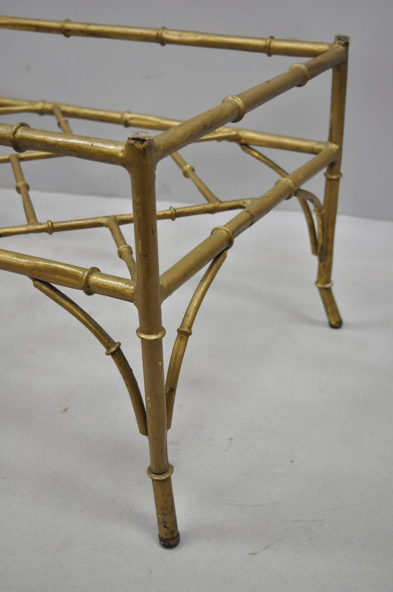 Vintage Italian Hollywood Regency Faux Bamboo Lattice Gold