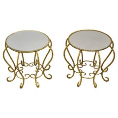Vintage Italian Hollywood Regency Gold Gilt Glass Top Low Side Tables, a Pair