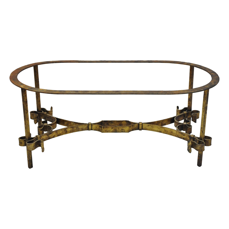 Vintage Italian Hollywood Regency Gold Gilt Iron Oval Coffee Table Base