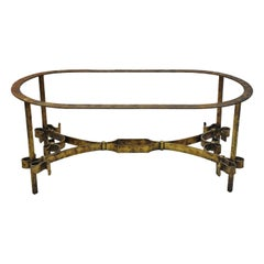 Vintage Italian Hollywood Regency Gold Gilt Iron Oval Coffee Table Base