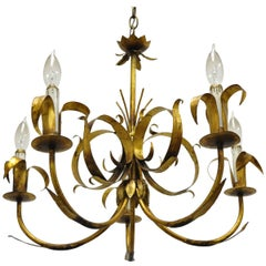 Vintage Italian Hollywood Regency Gold Gilt Tole Metal Chandelier by Ferrocolor