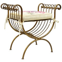 Vintage Italian Hollywood Regency Iron Gold Gilt Curule Vanity Bench Seat Chair