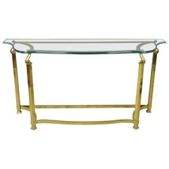 Vintage Italian Hollywood Regency Labarge Brass Base Beveled Glass Console Table