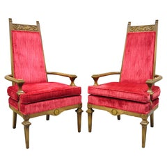 Vintage Italian Hollywood Regency Red High Back Lounge Arm Chairs, a Pair