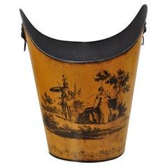 Vintage Italian Hollywood Regency Tole Metal Orange Wastebasket Trashcan