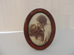 Vintage Italian Inlaid Wood Oval Picture Frame