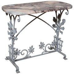 Vintage Italian Iron and Marble Garden Table
