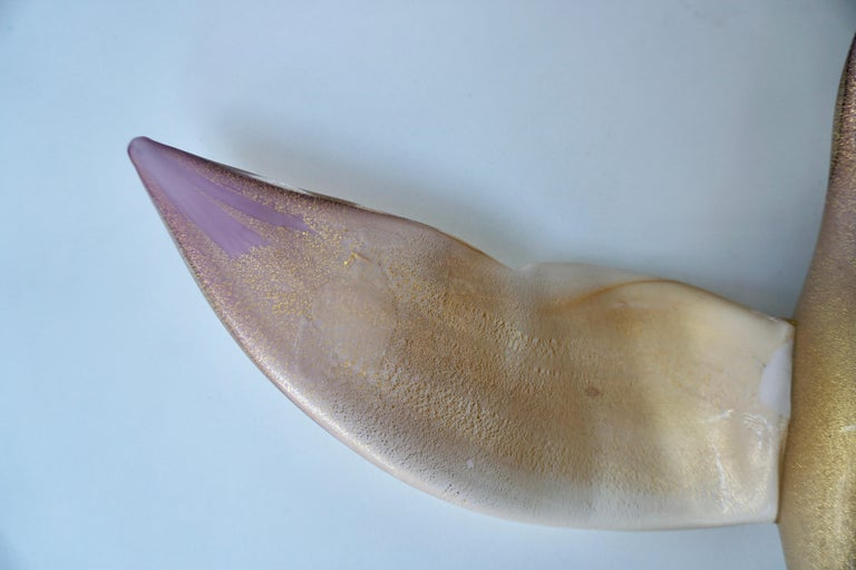 Vintage Italian Jewel-Like Gold Purple Creme Glass Bird For Sale 4
