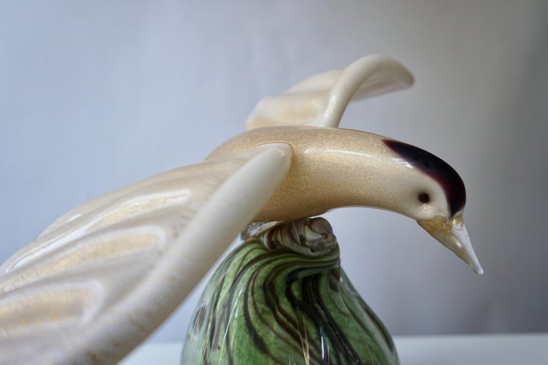 Vintage Italian Jewel-Like Gold Purple Creme Glass Bird For Sale 2