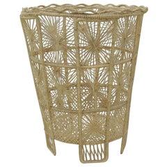 Vintage Italian Lace Style Wastebasket