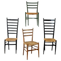 Vintage Italian Ladder Back Chairs with Rush Seating