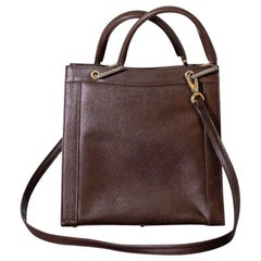 Vintage Italian Lady Bag Brown Leather by Giorgia 1950s