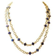 Vintage Italian Lapis Lazuli 18 Karat Gold Necklace