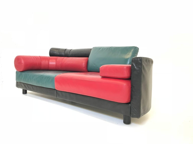 Vintage Italian Leather Sofa By Guido Faleschini For I 4