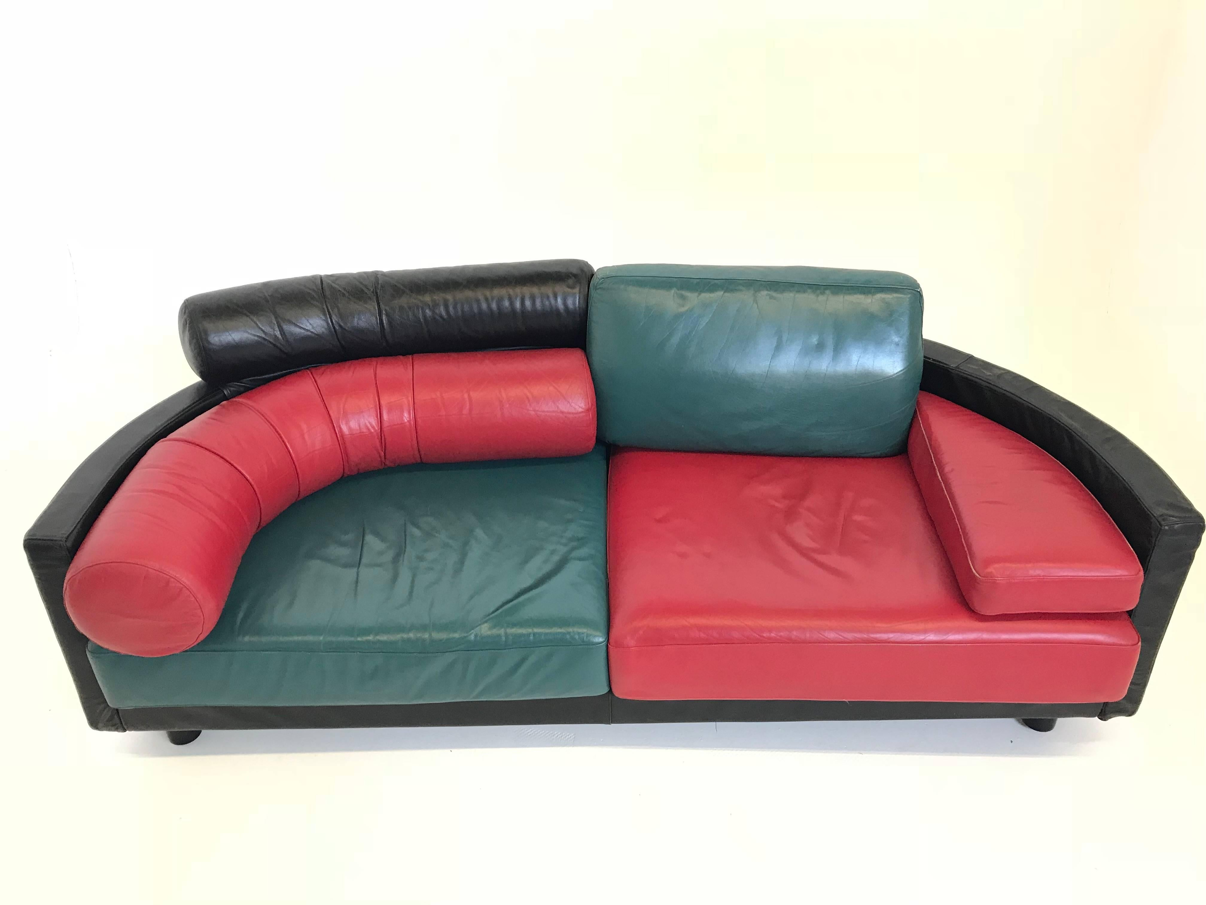 Late 20th Century Vintage Italian Leather Sofa By Guido Faleschini For I 4  Mariani For Sale