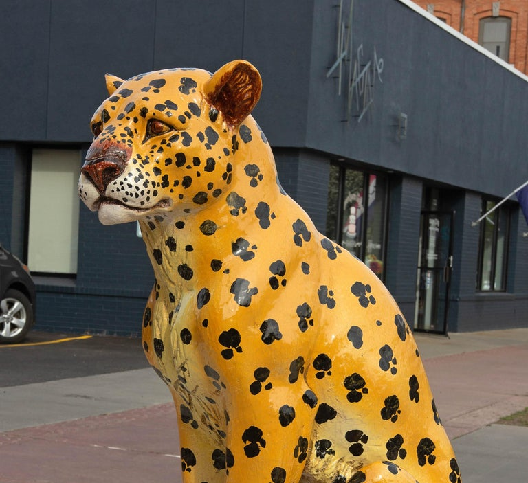 Glazed terracotta life size leopard. Italian 1960's. Marked