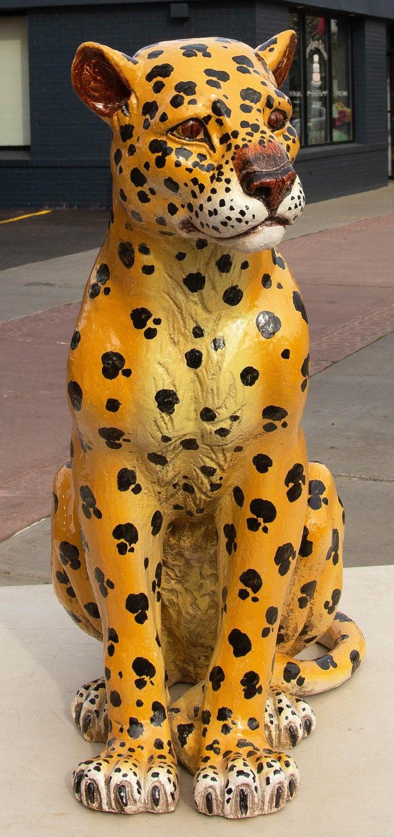 Mid-Century Modern Vintage Italian Life Size Terracotta Leopard, 1960s For Sale
